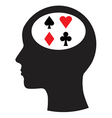 Man and thinking and gambling vector image vector image