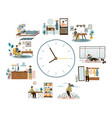 man daily schedule lifestyle activities temporal vector image vector image