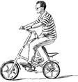 man riding a city bike vector image vector image