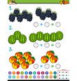 maths addition educational game with fruits vector image vector image
