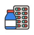 medicine bottle syrup and capsule pharmacy icon vector image vector image