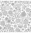 new year 2019 hand drawn outline festive seamless vector image