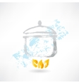 Pan on fire grunge icon vector image vector image