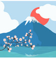 pink floral branch and mount fuji background vector image