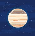 planet jupiter in space in flat style vector image vector image