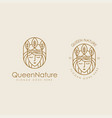 queen nature logo icon set with lineart vector image vector image