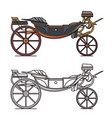 retro cab or vintage carriage medieval chariot vector image vector image