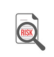 risk word magnifying glass vector image vector image