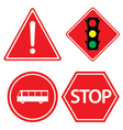 Road sign of bus stop Hazard warning red traffic vector image vector image