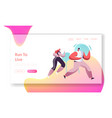 running people group in motion jogging man vector image