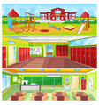 school interior and outdoor yard colorful banner vector image