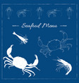 seafood hand drawn sketch of crab and shrimp vector image vector image