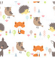 seamless pattern cute cartoon forest vector image vector image