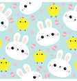 seamless pattern white rabbit bunny face chicken vector image