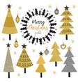 Set of isolated christmas gold tree