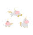 set unicorns cartoon style vector image
