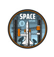 shuttle spaceship and telescope space explore icon vector image vector image