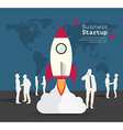 Silhouette people with rocket for startup vector image vector image