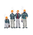 smoking place builders on smoke break mans in a vector image vector image