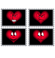 stamps with hearts and faces vector image vector image