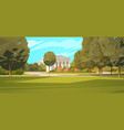 summer city park with town building background vector image vector image