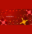 valentines day greeting card with sparkling vector image