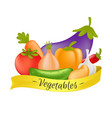 vegetables set with yellow ribbon cartoon healthy vector image