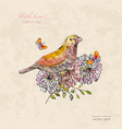 vintage greeting card with cute bird vector image vector image