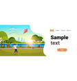 young man launching kite outdoors modern public vector image