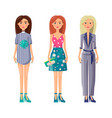 young modern girls in stylish summer clothes set vector image vector image