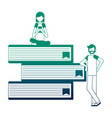 young people with pile library books isolated icon vector image