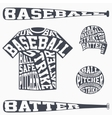 Sports symbols of baseball with typography vector image