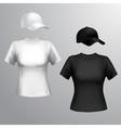 Women t-shirt baseball cap vector image