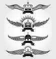 winged crowns and ribbons royal logo vector image