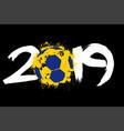 abstract number 2019 and handball ball from blots vector image vector image