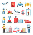 airport pictograms isolated icons set vector image
