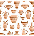 ancient greek clay pots vases and amphoras vector image vector image