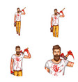 avatar of a bearded man with a bloody ax vector image
