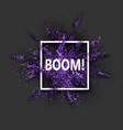boom purple glitter explosion on grey vector image vector image