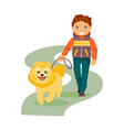 boy with a dog vector image vector image