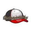cap crown thorns sketch vector image