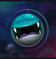 cartoon fantasy monster planet with giant scary vector image vector image