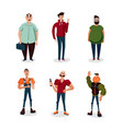casual man people set isolated on white vector image vector image