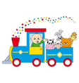 childrens train animals vector image vector image