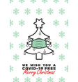 christmas tree with mask and we wish you vector image vector image