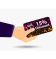 Coupon for a 15-percent discount in the hand vector image vector image