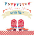 cowboy party western card symbols with cowboy vector image vector image
