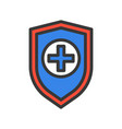 cross on shield medical insurance concept icon vector image vector image