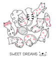 cute bacat cartoon hand drawn style vector image vector image