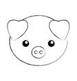 cute sketch draw pork cartoon vector image vector image